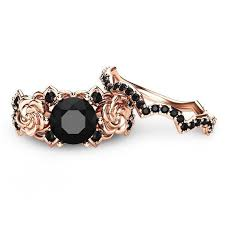 black engagement ring set created black gold flower 925 sterling silver