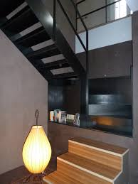 Open Staircase Ideas Simple Black Polished Metal Open Staircase With Small Shelving