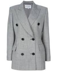women u0027s grey double breasted blazer white sleeveless top yellow