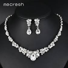 color rhinestone necklace images Mecresh silver color rhinestone bridal jewelry sets classic jpg