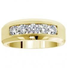 just men rings 1 10 ct tw 5 channel set diamond mens wedding ring in 14k