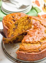 banana pumpkin chocolate chip cake family food on the table