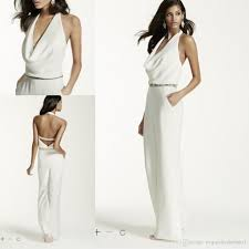 ivory jumpsuit cheap wedding dresses ivory wedding jumpsuit with cowl neck