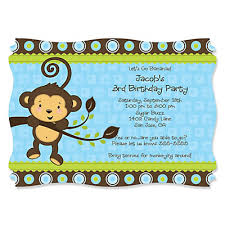 blue monkey boy personalized birthday party invitations