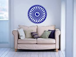 Home Decor Buddha by Wall Vinyl Decals Ashok Chakra Religion Faith Symbol Om Yoga