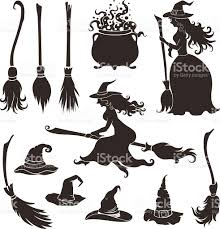 Halloween Vector Art Halloween Witches With Brooms And Hats Stock Vector Art 484441528