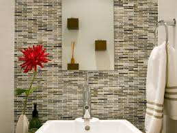 bathroom black and white mosaic glass tile bathroom accent wall