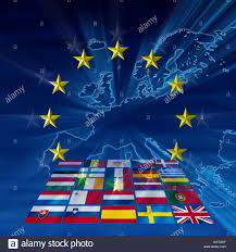 Blue Flag Stars In Circle Flags Of Eu Member Nations In A Perspective A Stylized Map Of