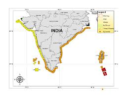 India On Map by Tsunami Information Bulletin National