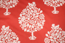 Red Drapery Fabric Duralee Tree Of Life Printed Cotton Drapery Fabric In Persimmon