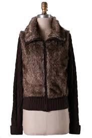 zip up sweater dakota faux fur zip up sweater brown daily chic