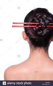 chopsticks for hair up hair with chopsticks stock photo 72274281 alamy