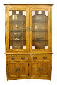 mission style china cabinet solid oak mission style china cabinet in light finish stock photo