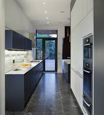 blue and white galley kitchen home decor color trends amazing