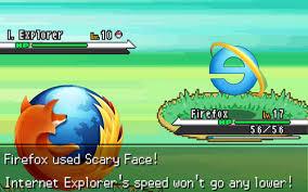 Internet Explorer Meme - firefox vs internet explorer in pokemon battle