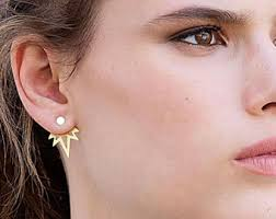 two sided earrings ear jackets gold stud earrings two sided earrings