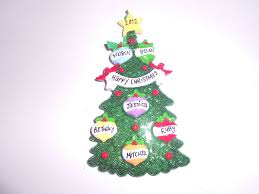 green christmas tree family 4 personalised decoration