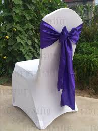 Purple Chair Sashes Purple Satin Chair Sash Bow Ribbon Wedding Party Banquet