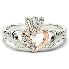 claddagh ring and gold diamond 075 cts claddagh ring april birthstone