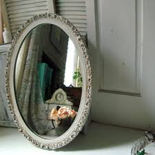 Vintage Bathroom Mirror Antique White Vintage Oval Ornate Mirror From Willowsendcottage