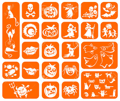 a halloween background white symbols of a halloween on an orange background pumpkins
