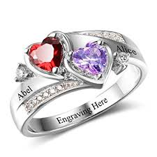 engraved engagement rings images Diamondido personalized simulated birthstones promise jpg