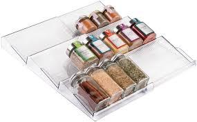 best kitchen cabinet drawer organizer mdesign adjustable expandable plastic spice rack drawer organizer for kitchen cabinet drawers 3 slanted tiers for garlic salt pepper spice jars