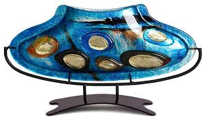 Turquoise Glass Vase Oval Fused Glass Vase With Metal Stand 14