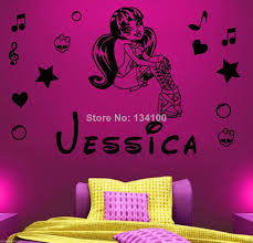 monster high home decor customer made personalized name monster high draculaura vinyl