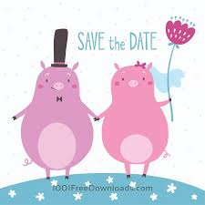 free vectors save the date vector card with cute pigs abstract