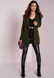 short faux wool coat khaki missguided