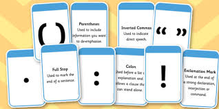 punctuation marks and explanation matching cards punctuation