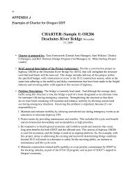 appendix j example of charter for oregon dot practical highway