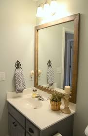 Bathroom Framed Mirror Guest Bathroom Update Stained Wood Framed Mirror Inside Mirrors
