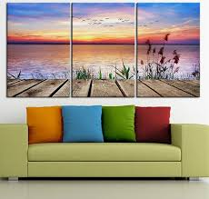 3pcs sunset colors summer nature birds lake oil painting on canvas