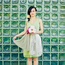 upcycled wedding bridesmaid dress cream ivory green floral print