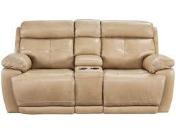 slumberland rhodes collection tan power reclining sofa