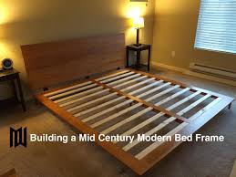 How To Make A King Size Platform Bed With Pallets by Build A Mid Century Modern Bedframe Youtube