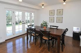 Door Dining Room Table Cottage Dining Room With French Doors U0026 Hardwood Floors In