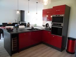 cuisine barentin réalisation clients l alliance de façades rouges et de meubles gris