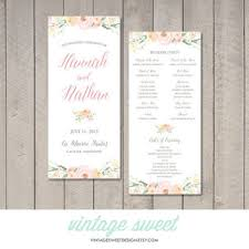 vintage wedding programs vintage floral wedding program from vintagesweetdesign on etsy