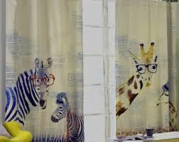 Fabric For Nursery Curtains Giraffe Curtains Etsy