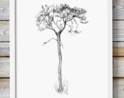 pine tree pencil drawing giclee print home decor tree