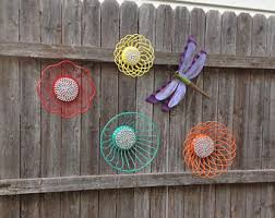 Metal Garden Flowers Outdoor Decor Fence Decor Etsy
