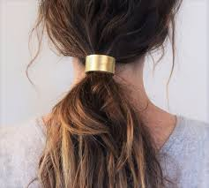 hair cuff leather hair cuff ponytail holder in gold size 4inches