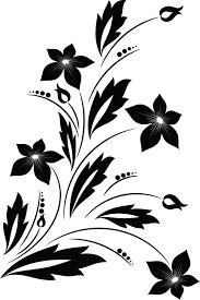 design clipart clipart of a black and white floral vine design element