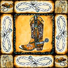 Kitchen Mural Backsplash Cowboy Country Western Art Tile Mural Kitchen Backsplash