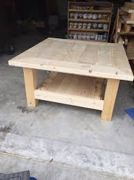 wood plank coffee table square coffee table w planked top free diy plans