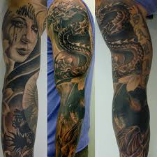 about black and grey sleeve ideas tribal arm sleeve