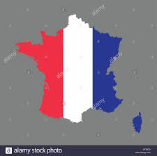 Frebch Flag France Map Vector With The French Flag Stock Vector Art